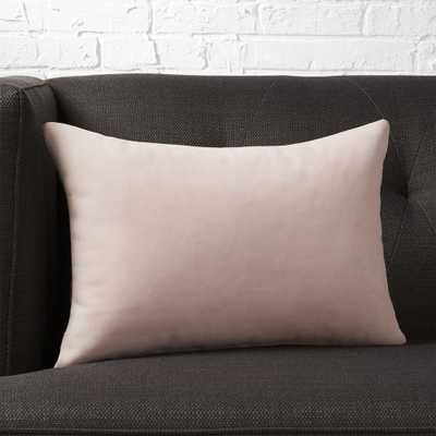 """18""""x12"""" loki blush leather pillow with down-alternative insert"" - CB2"