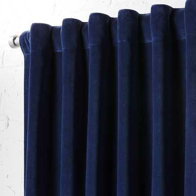"""velvet navy curtain panel 48""""x96"""" - CB2"""