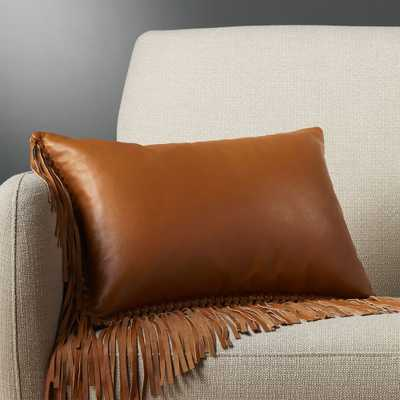 "18""x12"" leather fringe saddle pillow with feather-down insert - CB2"