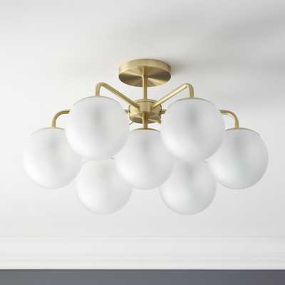 vega brushed brass flush mount lamp - CB2