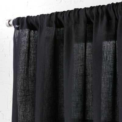 """linen black curtain panel 48""""x96"""""" - CB2"