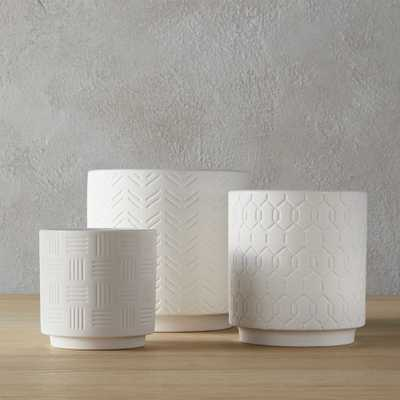 3-piece white loom planter set - CB2