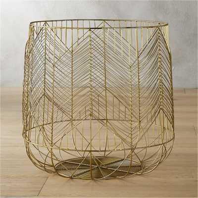 blanche large gold metal basket - CB2