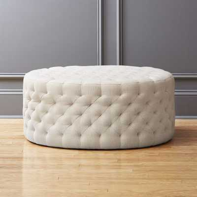 tufted natural ottoman - CB2
