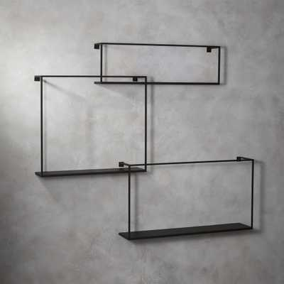 3-piece floating large matte black shelf set - CB2