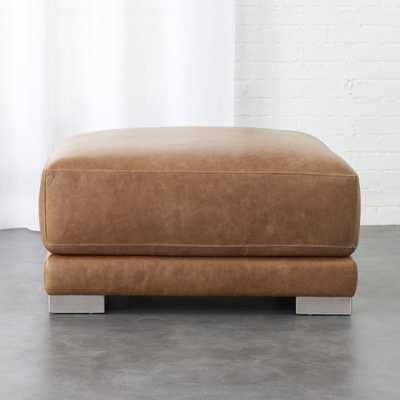 gybson brown leather ottoman - CB2