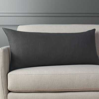 """""""36""""""""x16"""""""" linon dark grey pillow with feather-down insert"""" - CB2"""