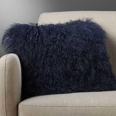 """16"""" mongolian sheepskin navy pillow with feather-down insert"" - CB2"