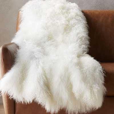 mongolian sheepskin white throw - CB2