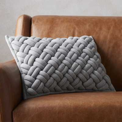 """18""""x12"""" jersey interknit grey pillow with down-alternative insert"" - CB2"