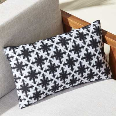 """""""20""""""""x12"""""""" cafe white and black outdoor pillow"""" - CB2"""