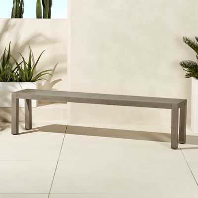 matera large grey dining bench - CB2