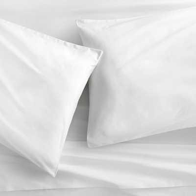 organic white percale king sheet set - CB2