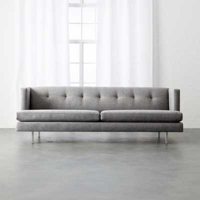 avec grey sofa with brushed stainless steel legs - CB2