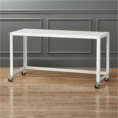 go-cart white rolling desk - CB2