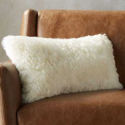 """23""""x11"""" icelandic shorn sheepskin pillow with down-alternative insert"" - CB2"