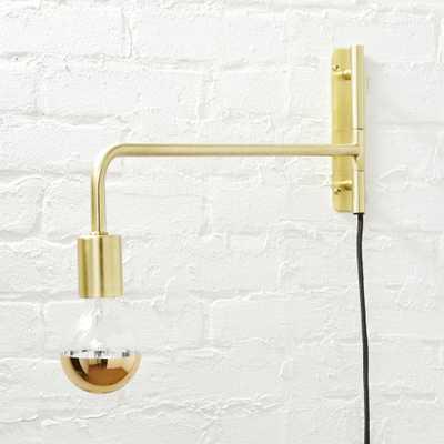 swing arm brass wall sconce - CB2