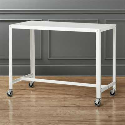 go-cart white rolling counter table-stand up desk - CB2