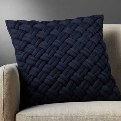 """20"""" jersey interknit navy pillow with feather-down insert - CB2"""