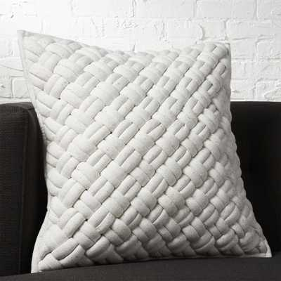 """20"""" jersey interknit ivory pillow with down-alternative insert"" - CB2"