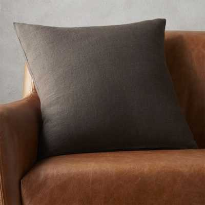 """20"""" linon dark grey pillow with feather-down insert"" - CB2"