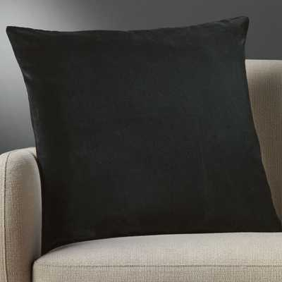 "23"" leisure black pillow with down-alternative insert - CB2"