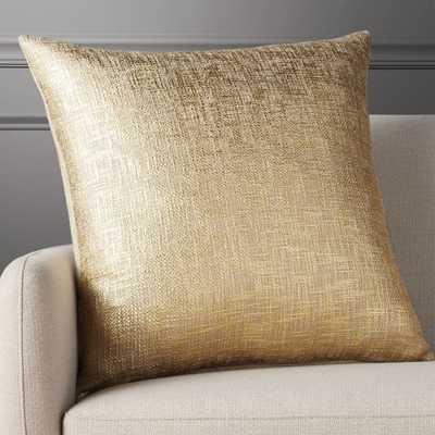 "23"" glitterati gold pillow with down-alternative insert - CB2"
