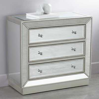 "Trevi 32"" Wide 3-Drawer Mirrored Accent Chest silver - Lamps Plus"
