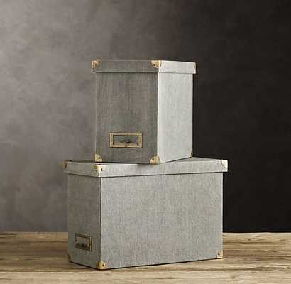 Linen Desktop File Box Fog - Small - RH