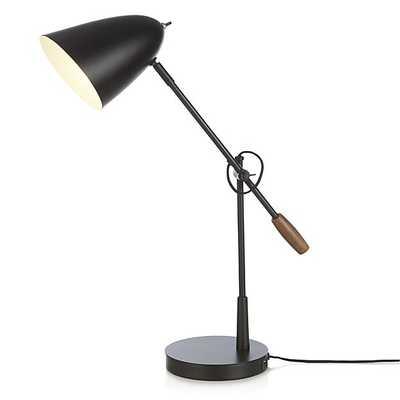 Morgan Black Metal Desk Lamp with USB Port - Crate and Barrel