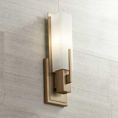 "Midtown 15"" High White Glass Burnished Brass Wall Sconce - Lamps Plus"