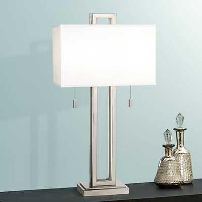 Possini Euro Design Brushed Nickel Rectangle Table Lamp - Lamps Plus
