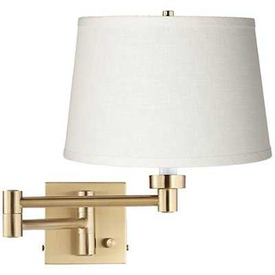 White Linen Alta Square Antique Brass Swing Arm - Lamps Plus