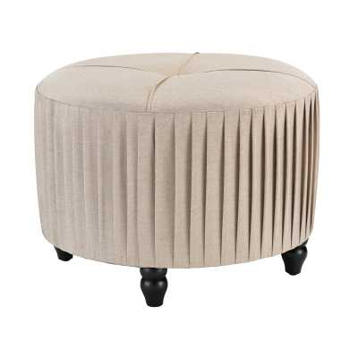 Pleated Ottoman in Natural Linen - Rosen Studio