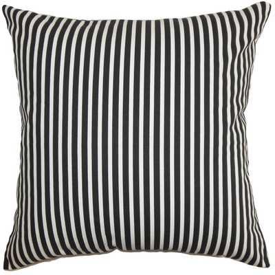 "Elvy Stripes Pillow Black White - 20"" x 20"" - Down insert - Linen & Seam"
