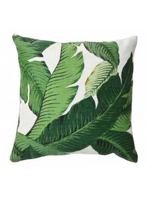 "Banana palm pillow, Green - 20X20"""" -Down Filled - Lulu and Georgia"
