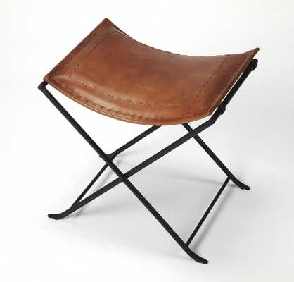 Melton Brown Leather Stool - Domino