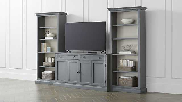 Cameo 3-Piece Modular Grey Media Entertainment Center - Crate and Barrel