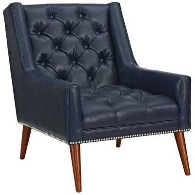 PERUSE FAUX LEATHER ARMCHAIR IN BLUE - Modway Furniture