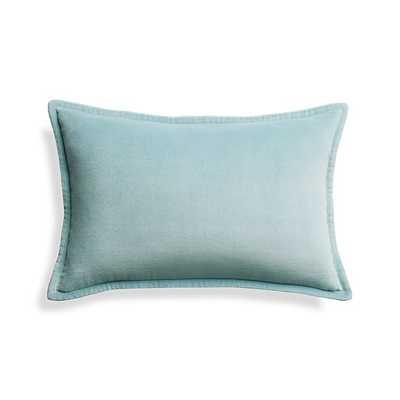 "Brenner Aqua 18""x12"" Velvet Pillow - Crate and Barrel"