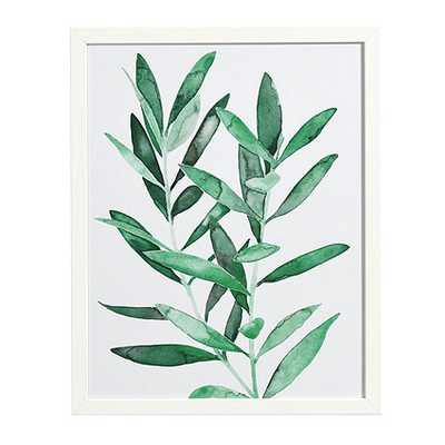 "Emerald Leaves Art-Print I - 22"" x 18"" - Matte white frame - Ballard Designs"