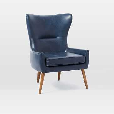 Erik Chair Leather Wing Chair, Leather, Navy - West Elm