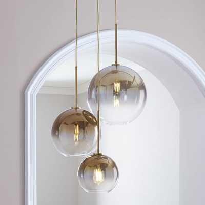 Sculptural Glass Globe 3-Light Chandelier - Mixed-Gold-Brass - West Elm