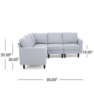 Zahra 5-piece Fabric Sofa Sectional by Christopher Knight Home - light grey option - Overstock