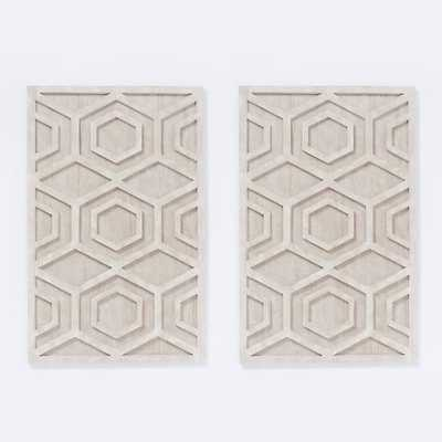 Whitewashed Wood Wall Art - Hexagon, Set of 2 - West Elm