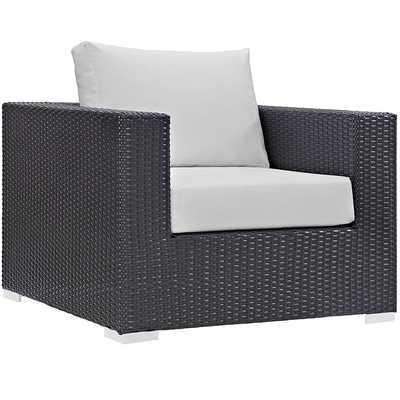 Convene Outdoor Patio Armchair in Espresso White - Modway Furniture