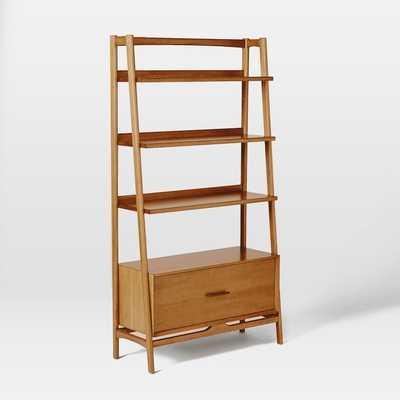 "Mid-Century 38"" Bookshelf w/ Drawer - Acorn - West Elm"