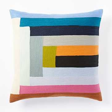 Margo Selby Linear Colorblock Crewel Pillow Cover, - West Elm