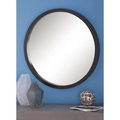 Modern Round Framed Wall Mirror in Black - Home Depot