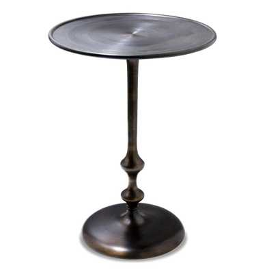 Abydos Modern Rustic Turned Metal Side Table - Kathy Kuo Home